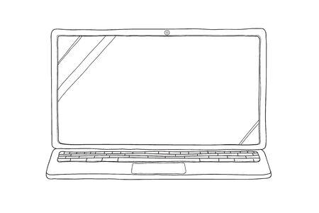 laptop hand drawn  vector line art cute illustration