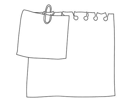 white note paper  handrawn vector cute line art illustration