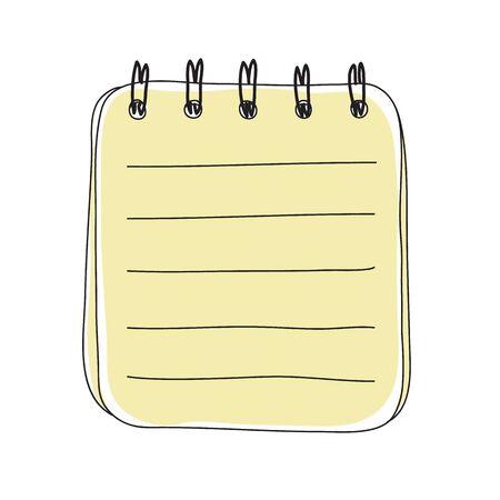 yellow small notebook hand drawn art cute vector illustration