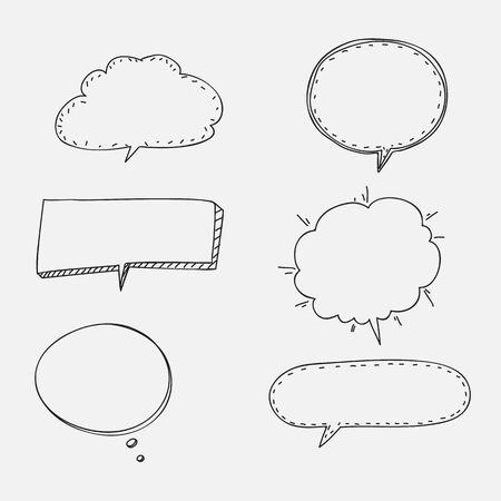 speech bubbles doodle Hand drawn set line art vector illustration