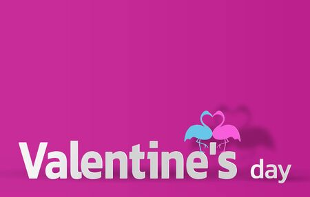 Valentine's day paper cut pink illustration