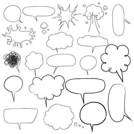 speech bubbles Collection of hand drawn Doodle style comic balloon design elements Isolated vector illustration