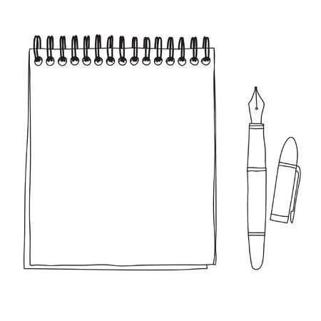 notebook and Fountain writing pen doodle hand drawn cute line art vector illustration