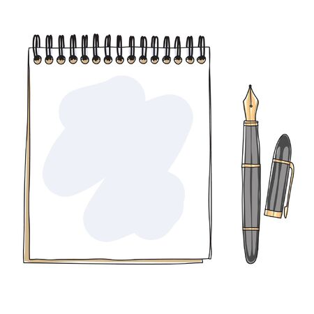 notebook and Fountain writing pen doodle hand drawn vector illustration