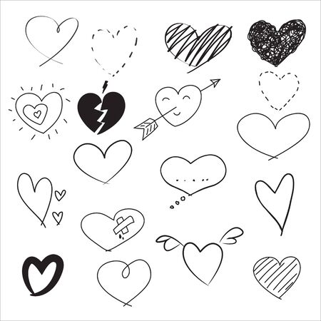 heart hand drawn doodle Valentine's Day cute vector set  イラスト・ベクター素材