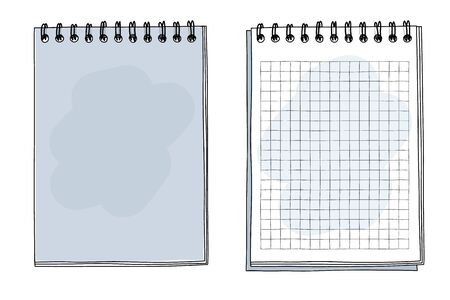 blue notebook hand drawn art vector illustration