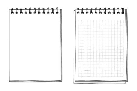 notebook hand drawn line art vector illustration Illustration
