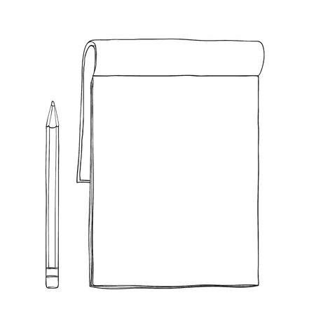 notebook and pencil hand drawn cute vector line art illustration