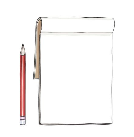 notebook and red pencil hand drawn cute vector art illustration