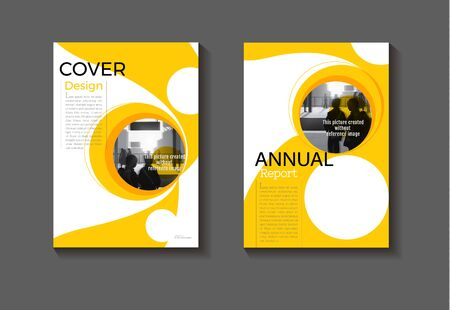 yellow cover design abstract  template Circle background modern book Brochure ,annual report, magazine and flyer layout Vector a4