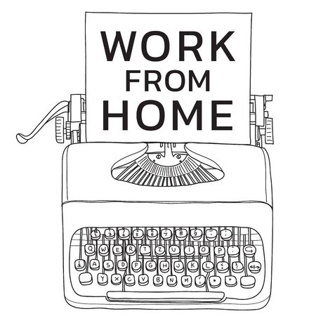 Work from home for screen t-shirt vintage  typewriter portable retro with paper  hand drawn vector line art illustration  イラスト・ベクター素材