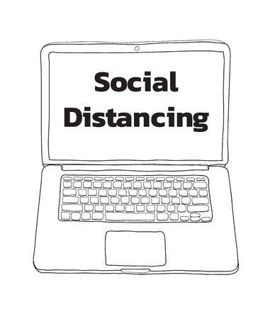 Social distancing  and laptop hand drawn cute  line art illustration vector