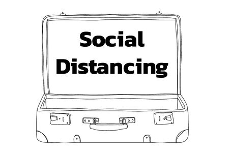 social distancing and empty Suitcase vintagehand drawn line art illustration vector