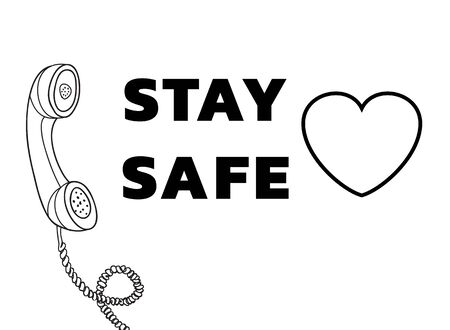 stay safe and Telephone Vintage  Retro hand drawn cute line art vector illustration