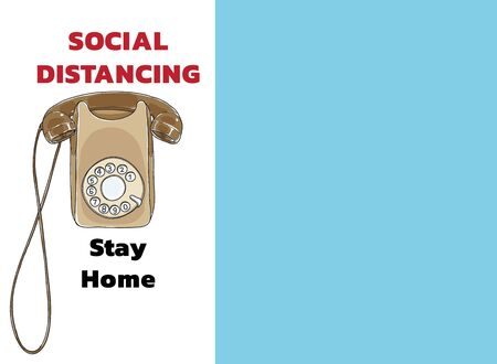 social distancing and stay home wall Telephone Vintage hand drawn vector art illustration