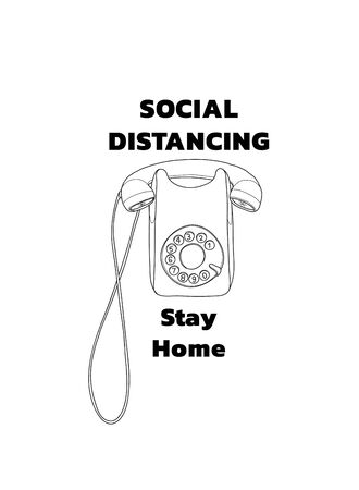 social distancing and stay home wall Telephone Vintage hand drawn vector line art illustration
