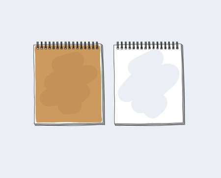 Brown notebook paper  hand drawn cute vector art illustration