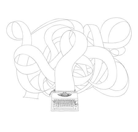 Typewriter and long paper  hand drawn with paper cute line art illustration