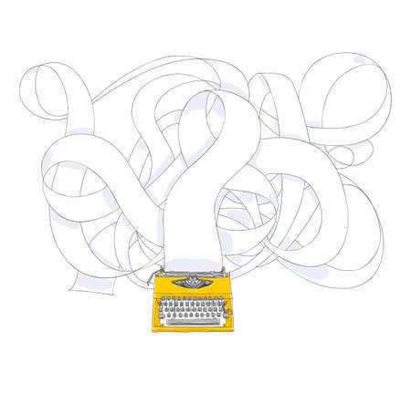 yellowTypewriter and long paper hand drawn with paper cute art illustration