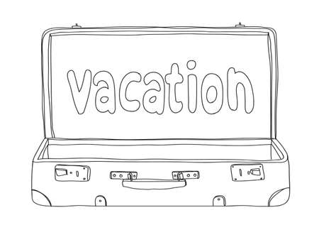vacation Suitcase vintage hand drawn line art vector cute  illustration