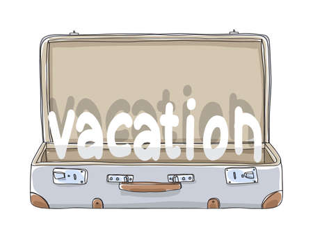 vacation Suitcase vintage hand drawn art vector illustration 向量圖像