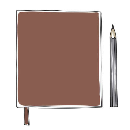 Brown leather notebook and black pencil hand drawn vector cute illustration