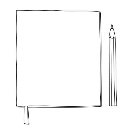 notebook and pencil hand drawn line art vector cute illustration