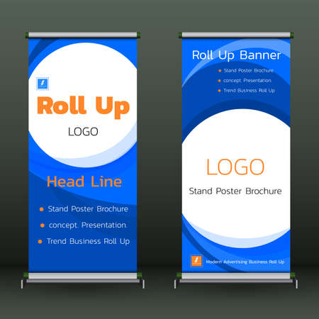Roll Up Banner template Cover  Modern Exhibition Advertising Trend Business Stand Poster Brochure flat design creative concept. Presentation.