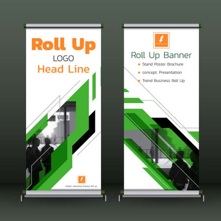 Roll Up Banner template green Cover  Modern Exhibition Advertising Trend Business Stand Poster Brochure flat design creative concept. Presentation. 向量圖像