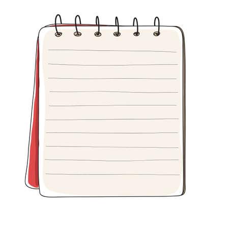 red mini notebook hand drawn vector line art illustration Иллюстрация