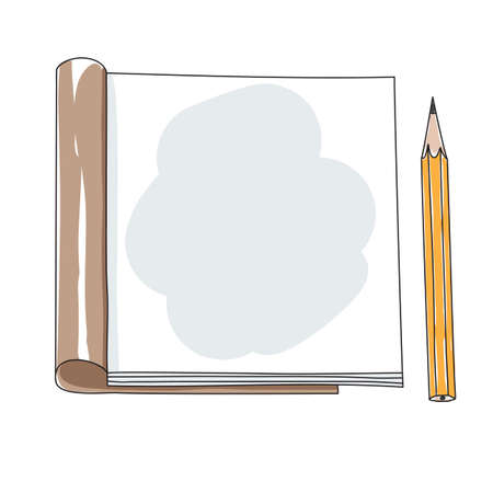 hand drawn line art notebook and yellow pencil cute vector illustration 矢量图像