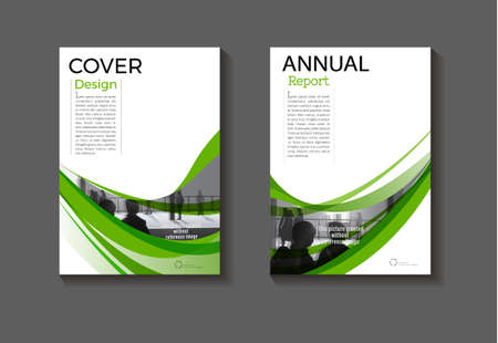 green cover modern abstract background design book  green Brochure  template,annual report, magazine and flyer layout Vector a4