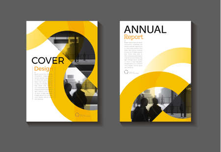 Yellow Circle cover abstract background modern design modern book cover Brochure cover  template,annual report, magazine and flyer layout Vector a4 向量圖像