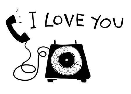 telephone vintage art hand drawn vector line art illustration