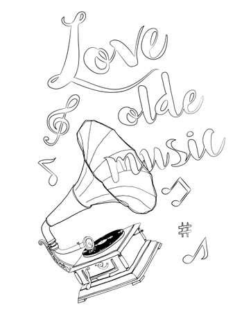 Record player vintage illustration hand drawn line art vector