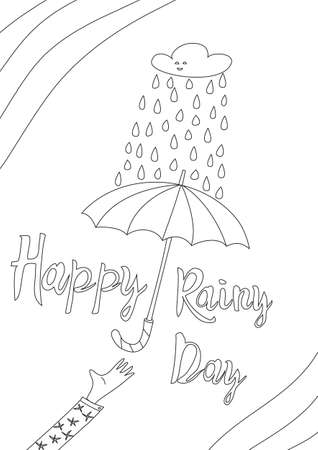 coloring book cute line art hand drawn happy rainy day artwork vector illustration a4 向量圖像