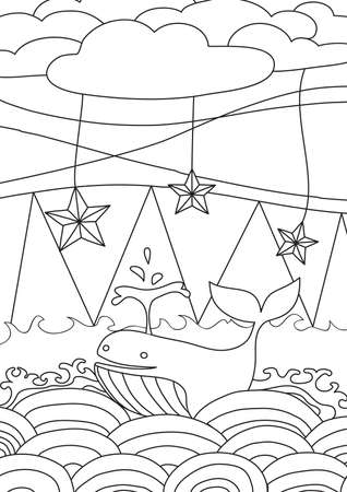 coloring book Sea and whale cute line art hand drawn artwork vector illustration a4