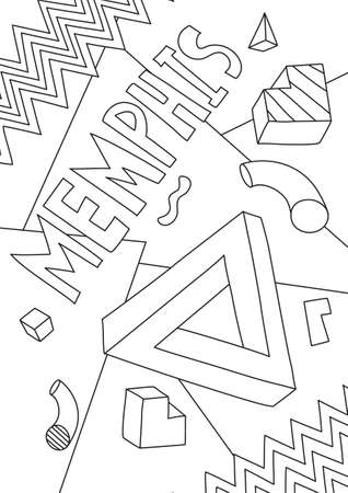 coloring book memphis Graphics line art hand drawn artwork vector illustration a4