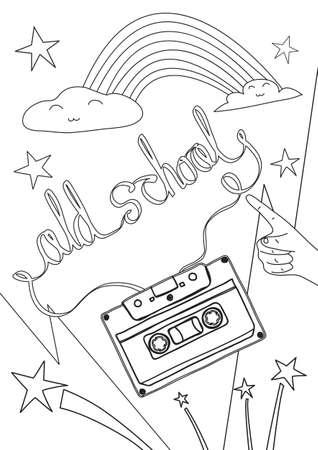coloring book old school cute line art hand drawn artwork vector illustration a4 向量圖像
