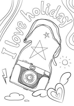 coloring book vintage camera cute line art hand drawn artwork vector illustration a4