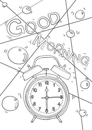 coloring book vintage Alarm clock cute line art hand drawn artwork vector illustration a4 向量圖像