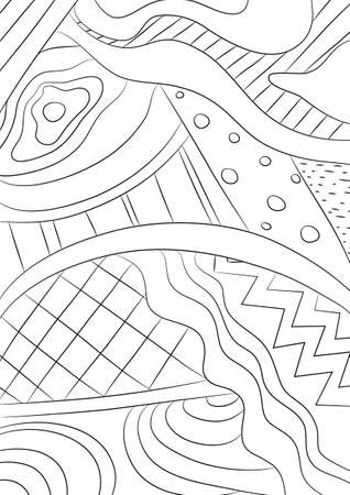 coloring book abstract line art hand drawn artwork vector illustration a4