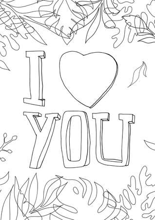 coloring book i love you Graphics line art hand drawn artwork vector illustration a4 向量圖像