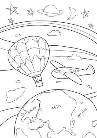 coloring book travel cute line art hand drawn artwork vector illustration a4 向量圖像