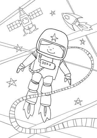 coloring book Astronaut cute line art hand drawn artwork vector illustration a4