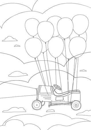 coloring book Children's play car, with balloons cute line art hand drawn artwork vector illustration a4