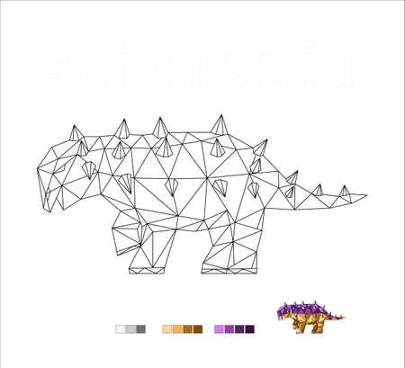 dinosaur coloring species saichania art vector illustration