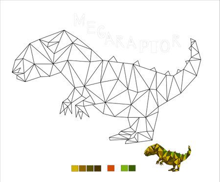 coloring Megaraptor dinosaur vector illustration for kids 向量圖像