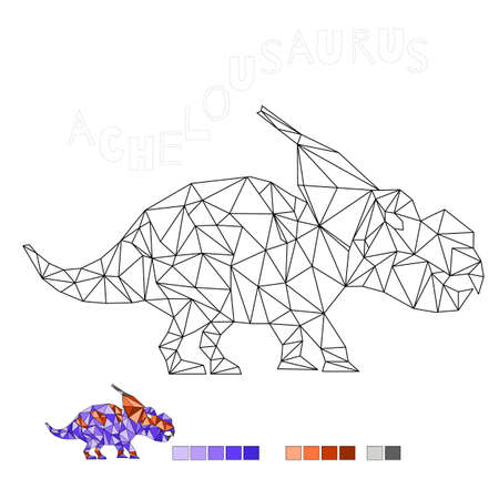 coloring achelousaurus dinosaur vector illustration for kids 向量圖像