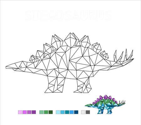 coloring stegosaurus dinosaur vector illustration for kids 向量圖像